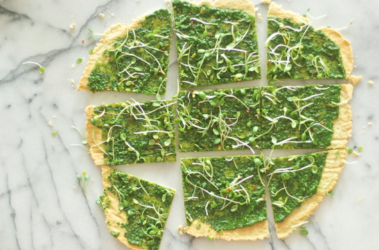 Garlic Flatbread With Herb-Spinach Pesto and Sprouts -
