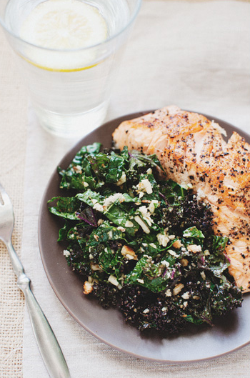 Lemon Kale Salad + Seared Salmon -