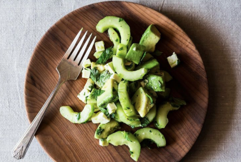 Crunchy Creamy Cucumber Avocado Salad -