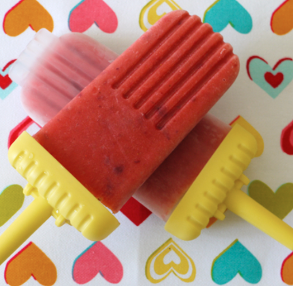 Peach & Strawberry Popsicles -