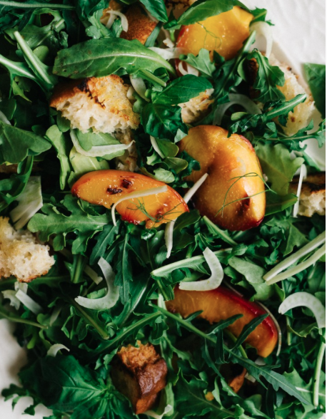 Grilled Panzanella Salad w/ Peaches & Fennel -