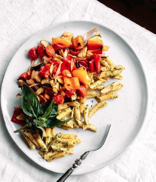 Hemp Seed + Flax Oil Basil Pesto w/ Penne & Roasted Vegetables -