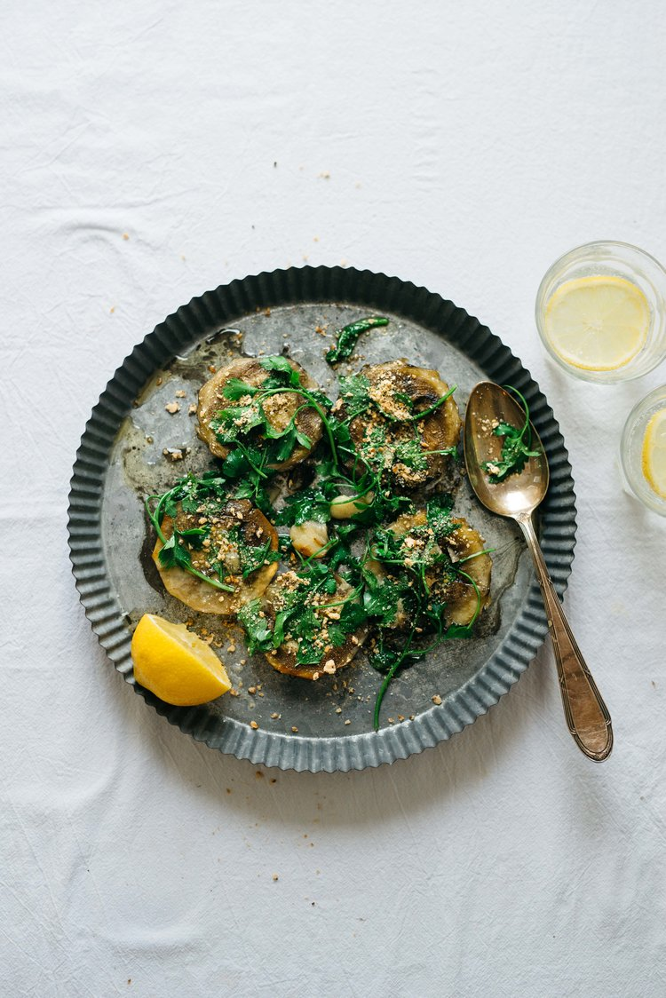 Pan- fried artichoke hearts with parsley -
