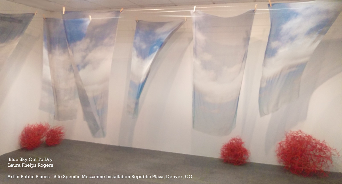 Laura Phelps Rogers,  Blue Sky Out To Dry  installation view from Republic Plaza CULTIVATION exhibition - 2017 exhibition ended May 2017.