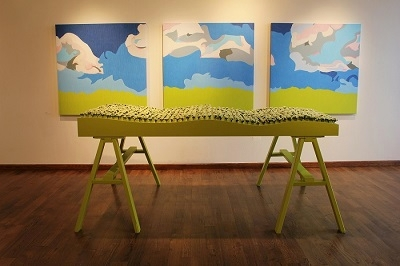 Laura Phelps Rogers, installation view of  Alberta Canola Field  from UTOPIA, solo exhibition Ice Cube Gallery 2016
