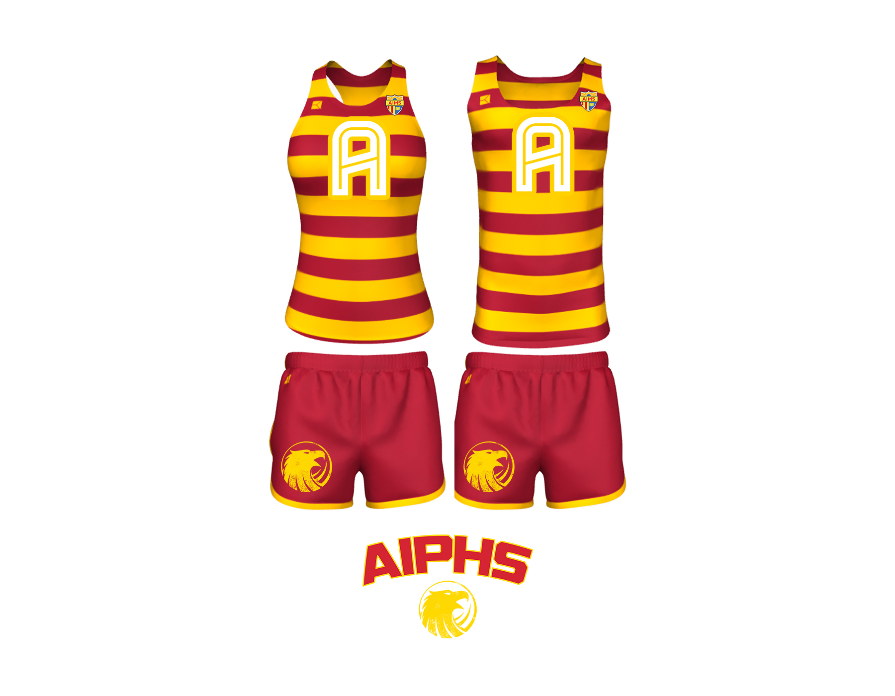 """AIPHS """"Modern Throwback"""" Cross Country Uniforms    The AIPHS Cross Country uniforms are the most fully customized AIMS sports uniforms to date. These """"throwback"""" uniforms feature classic alternating red and athletic gold rugby stripes and introduces the new AIMS """"Block A"""" that is prominent in the center of the singlet athletic top. The red endurance shorts evoke modernity, are edged with athletic gold binding, and feature the Golden Eagle Spiritmark on the right thigh."""