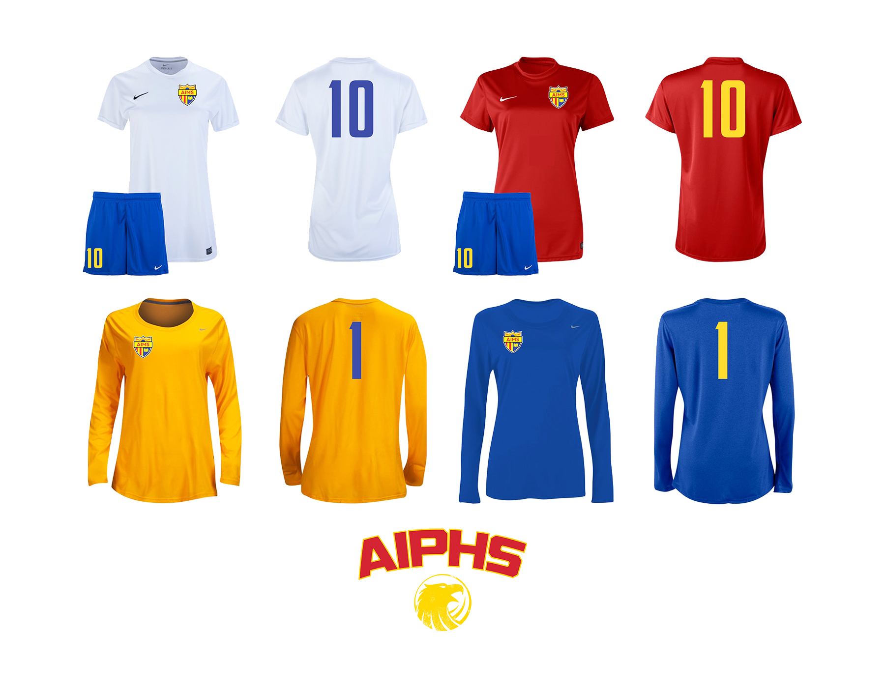 Lady Eagles Soccer Kits    The Lady Eagles home soccer kit tops are white with royal blue numbers, while the away soccer kit features a red top with gold numbers. To alternate from the Golden Eagles uniforms, the goalkeeper has the option to wear a gold uniform with royal blue numbers or a royal blue uniform with gold numbers. White socks are required to be worn with the home kits, while red socks are worn with away uniforms. When combined with the royal blue shorts, the away kit combination stands out as perhaps the best uniform color combination of all the AIMS sports teams.