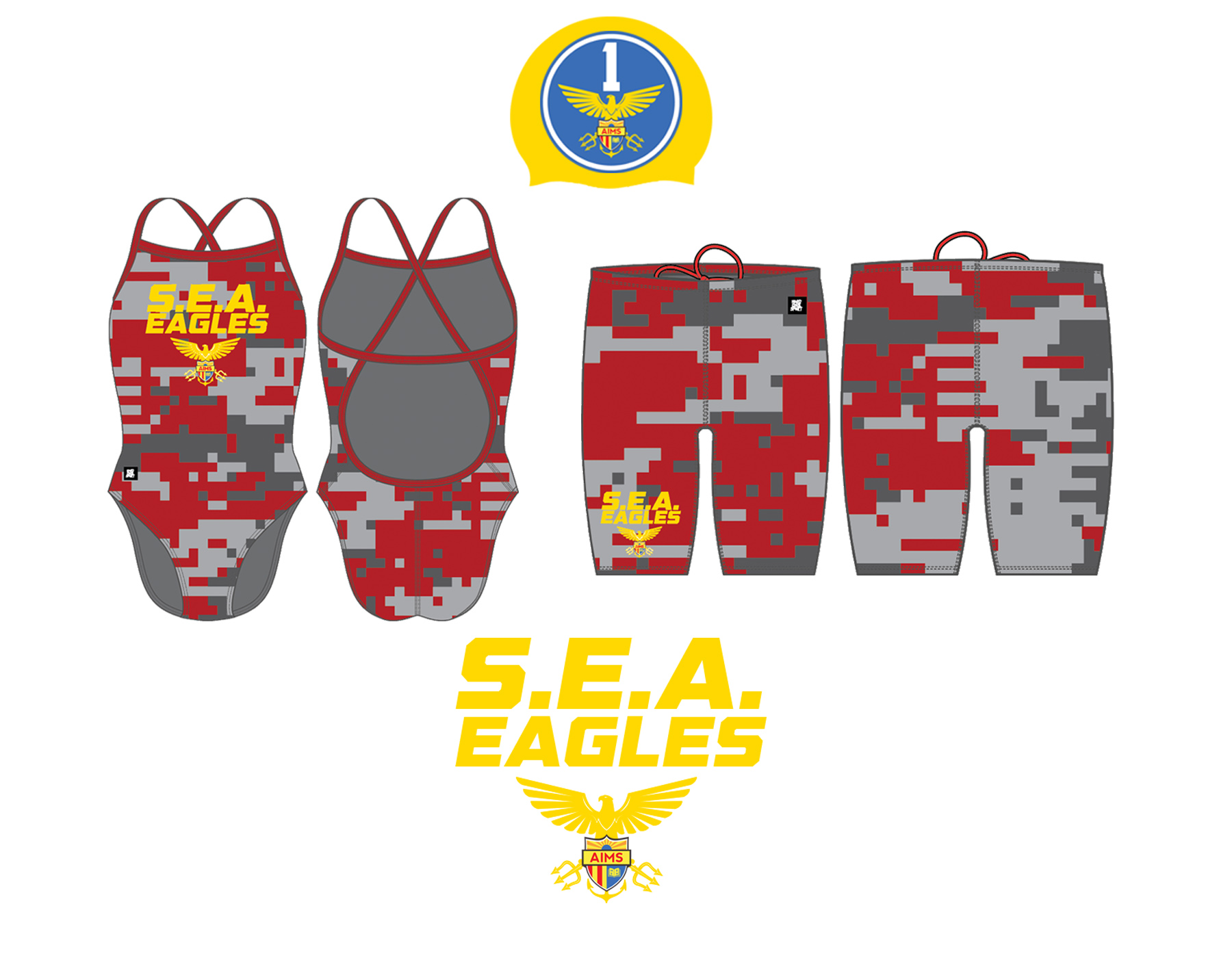 """S.E.A. Eagles """"Sea Combat"""" Uniforms    In honor of its inaugural season, the Swimming Elite of American Indian Public High School (S.E.A. Eagles) will be donning their """"Sea Combat"""" uniforms: a red and grey camouflage-patterned uniform and custom sea-themed Golden Eagles logo that's affixed with two tridents and a sea anchor. Additionally, the S.E.A. Eagles will wear  WWII Army Air Corp-themed  gold swim caps with the #1 on them - signifying the school's first ever swim team (S.E.A. Team One). Together, the inaugural 40 member S.E.A. Team will look to assert its dominance within the water."""