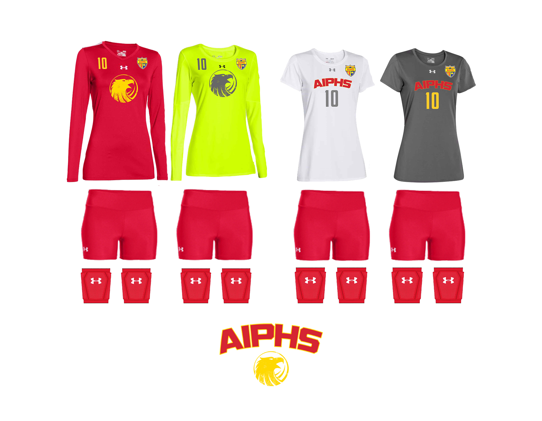 """AIPHS Girls """"Powerhouse"""" Volleyball Uniforms    The AIPHS Girls Volleyball team will wear two """"powerhouse"""" uniforms in their inaugural season within the BACSAC. The girls' red long-sleeved volleyball uniforms feature a gold spiritmark and uniform numbers on the upper-right side of the top, while the long-sleeved libero uniform is neon-green with a charcoal grey spiritmark and logo. The secondary white uniforms feature the red and gold AIPHS Athletic Wordmark with grey numbers, while the libero uniform is grey with gold numbers. Additionally, the girls' volleyball team will wear red volleyball shorts and red knee pads. Lastly, the girls' volleyball team will feature alternating white/red and red/gold """"AIMSTRONG"""" team socks."""