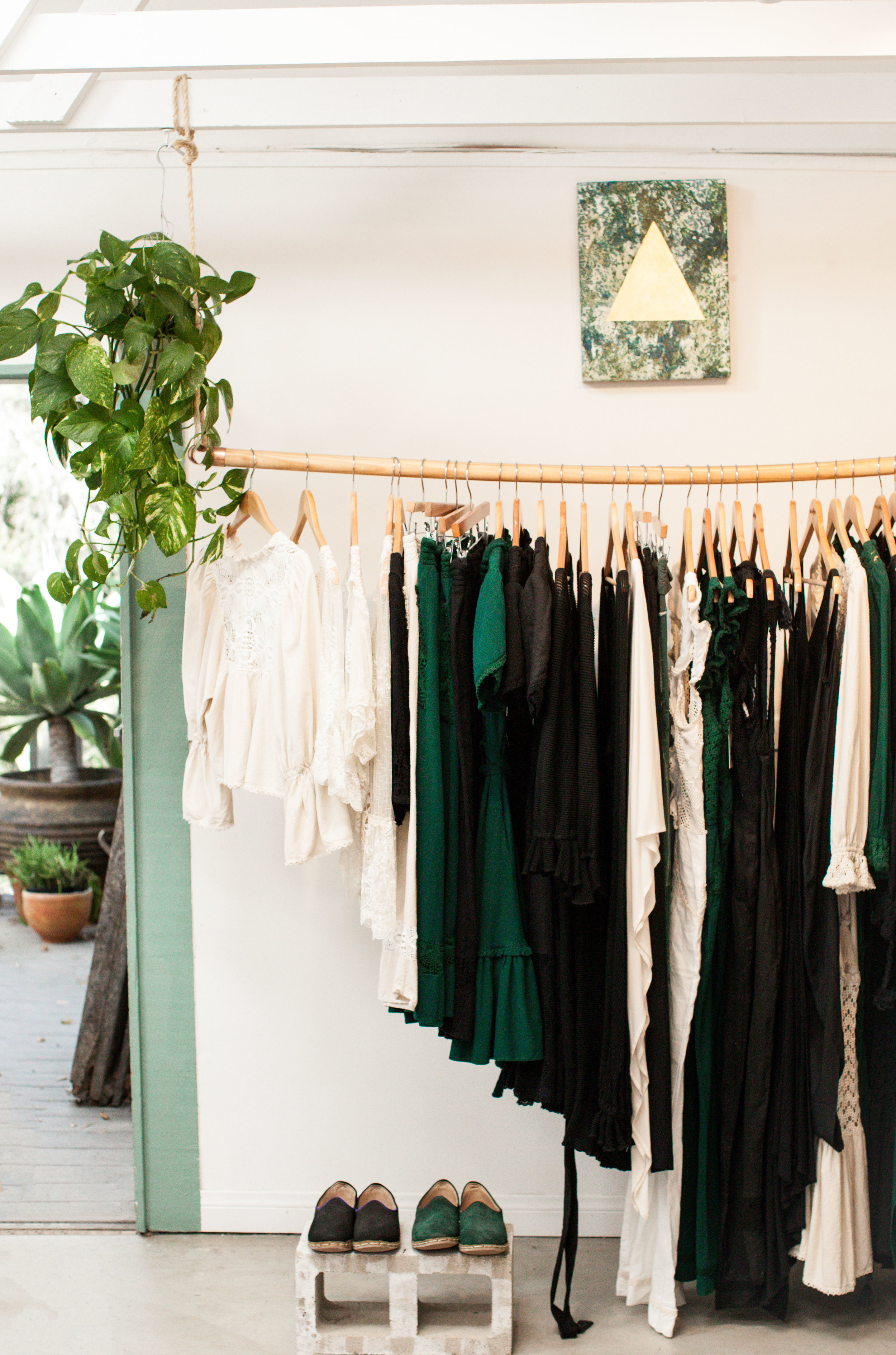 Clothes hanging at Moona Star Collective Topanga Store