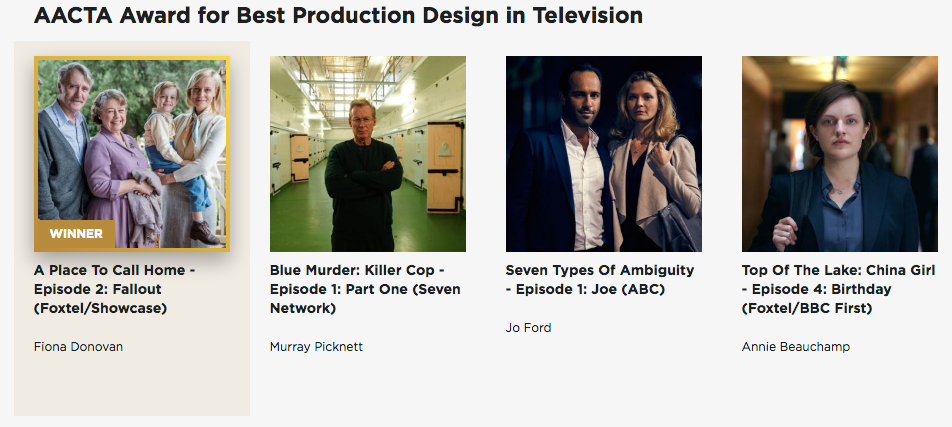 Awards & Nominations - 2017 AACTA Award for Best Production Design in Television2017 APDG Nomination for Production Design on a Television Series2016 AACTA Nomination for Best Production Design in Television