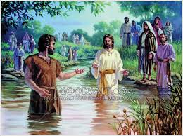 Jesus preparing to be baptized by John the Baptist.