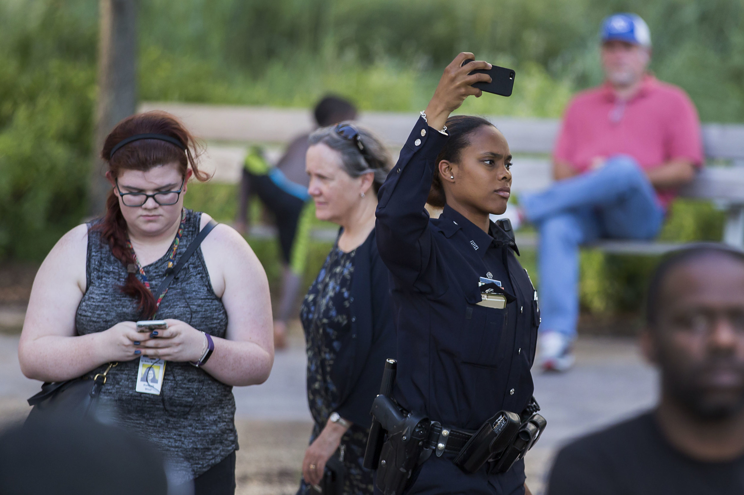 Preparing to go live on The Dallas Morning News' Facebook before the protest that became the July 7, 2016 ambush on Dallas police. (Smiley N. Pool/The Dallas Morning News)