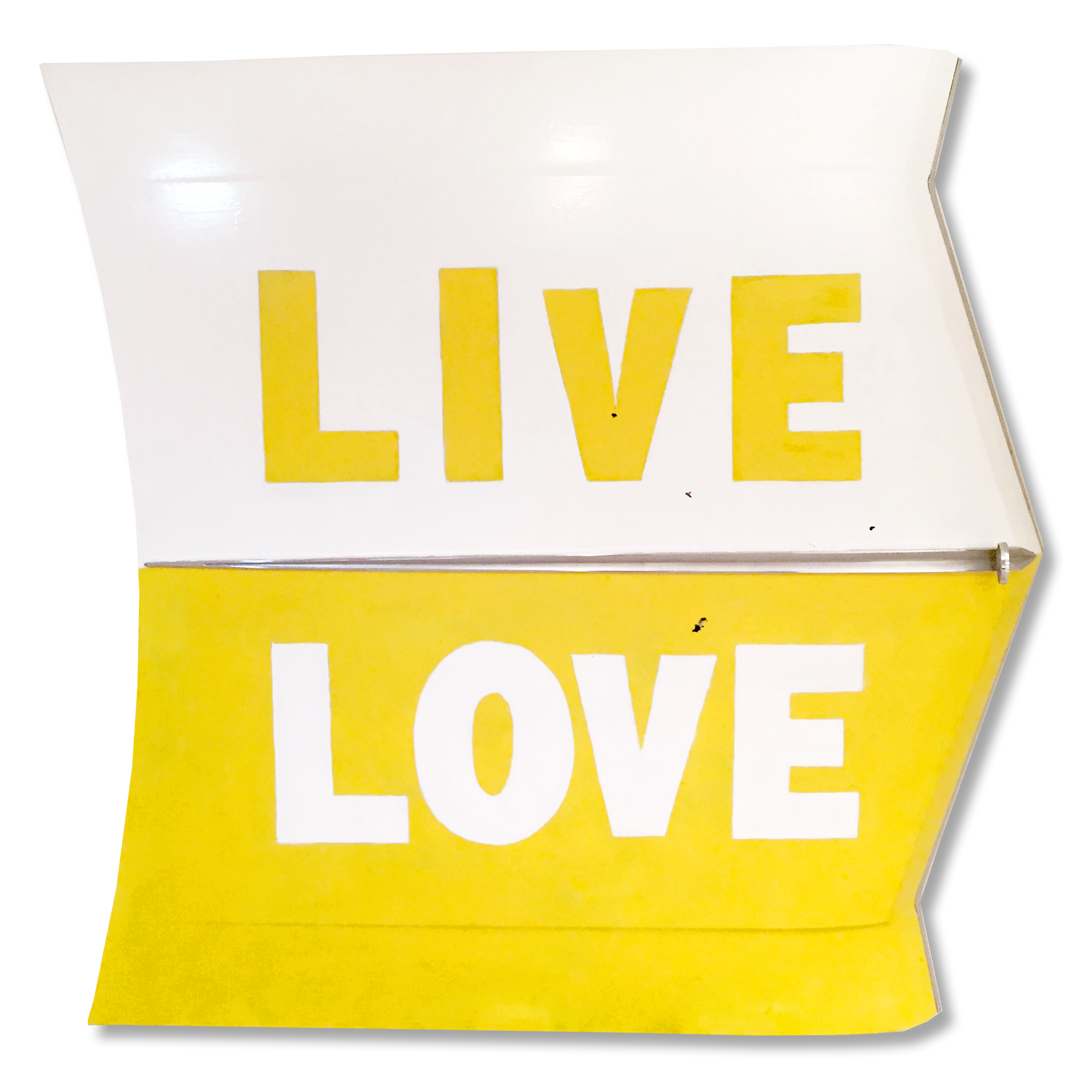 LIVE LOVE is acrylic and oil over metal.  The hood is from a 1960's BUICK which was both heavily chromed and heavily weathered.  LIVE LOVE is 9 inches deep, 56 inches wide and 52 inches high.