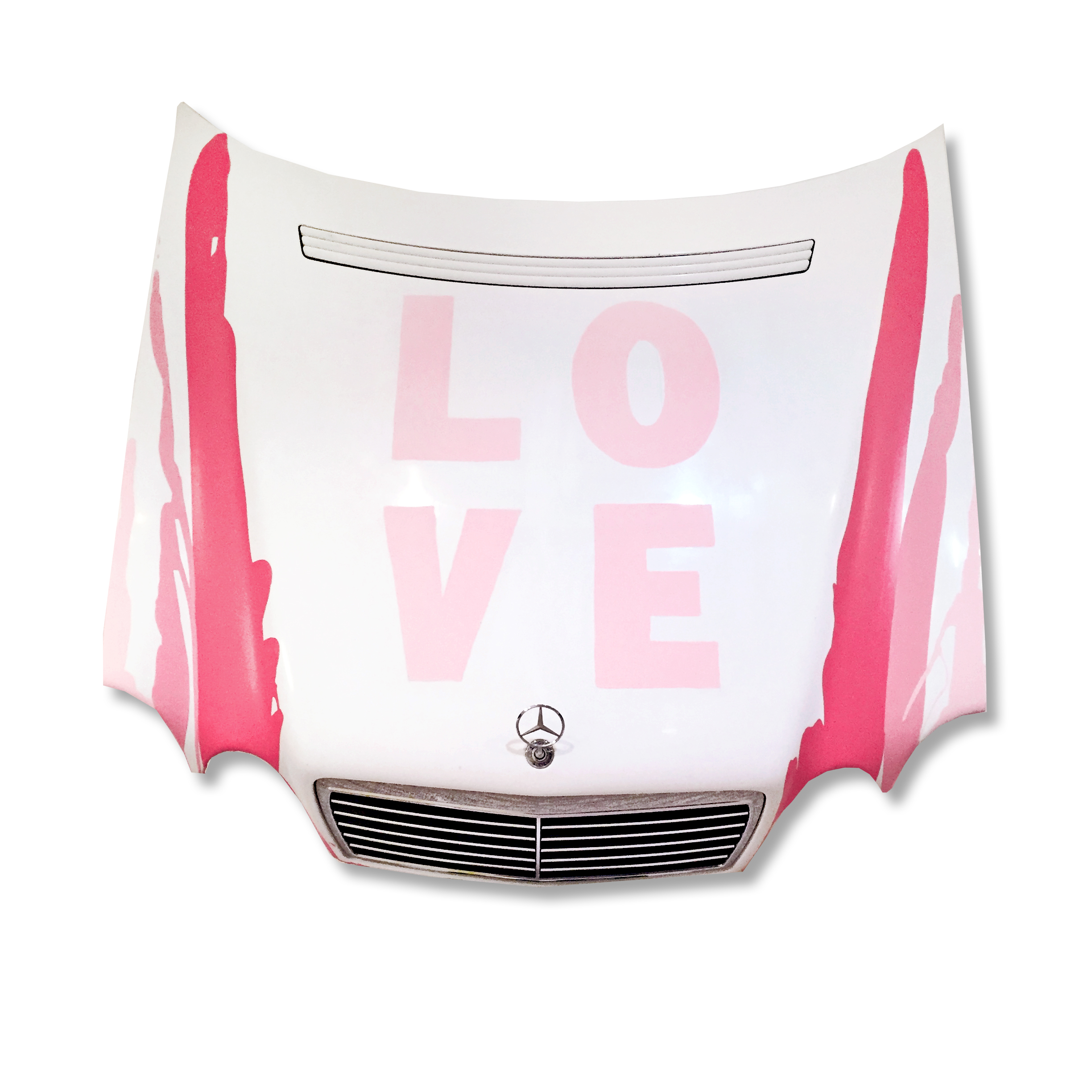 This sculpture is in the LOVE series, and the first to incorporate the drips of paint on both sides of the sculpture, a tribute to the great mid century painter Morris Louis.  The color palette is pink.  Three of my favorite pink colors. The hood is from an E class Mercedes from the early 200's.   $18,500