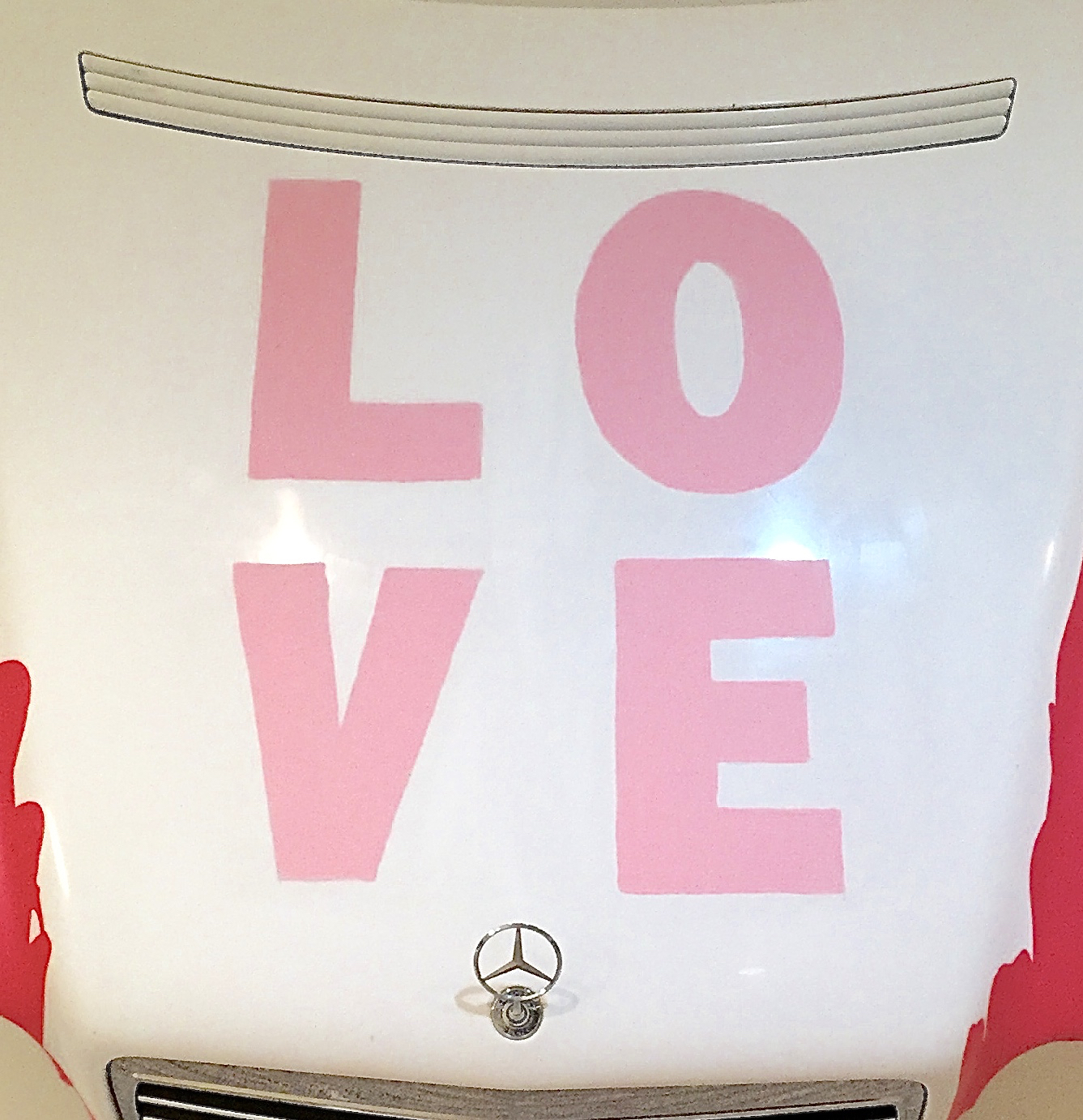 scott hughes art ONE LOVE Pink Mercedes LOVE detail middle