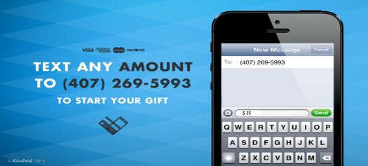 Did you know that you can text to give? Just text the amount to our church's assigned phone number. Give it a try today.