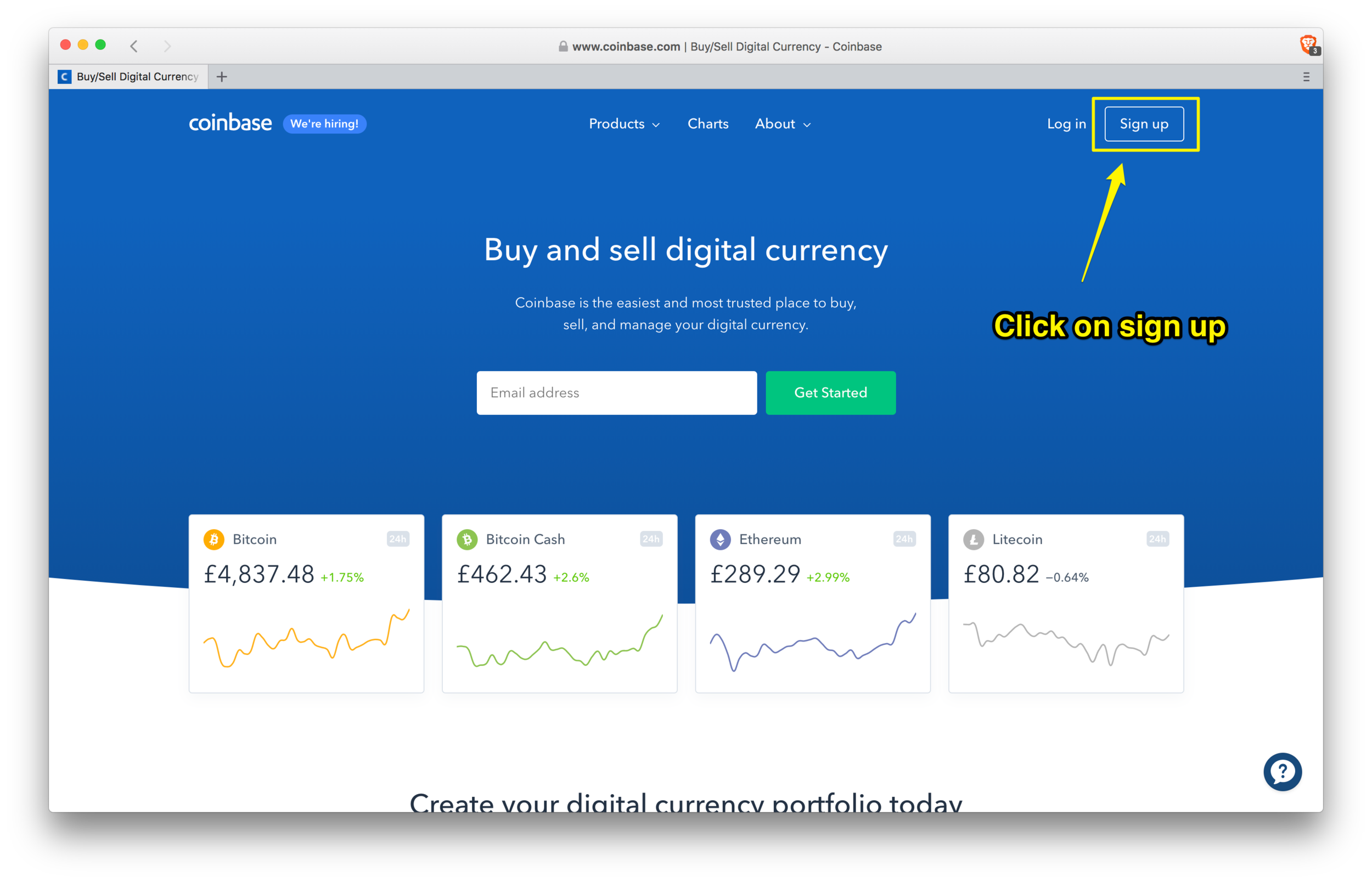 Coinbase: sign-up page