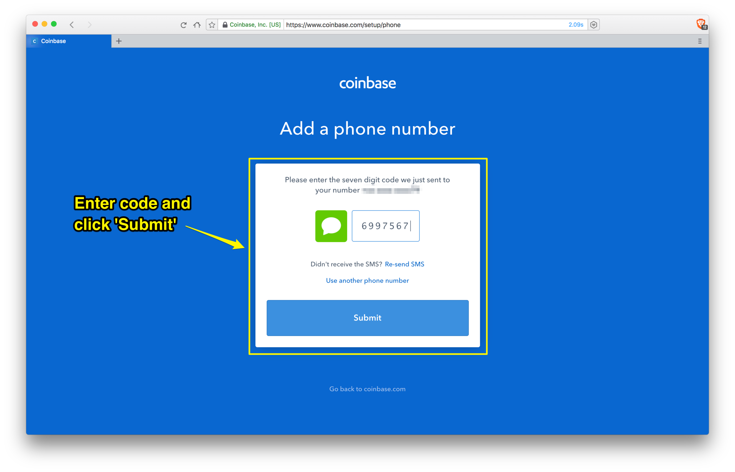 Coinbase: adding your phone number