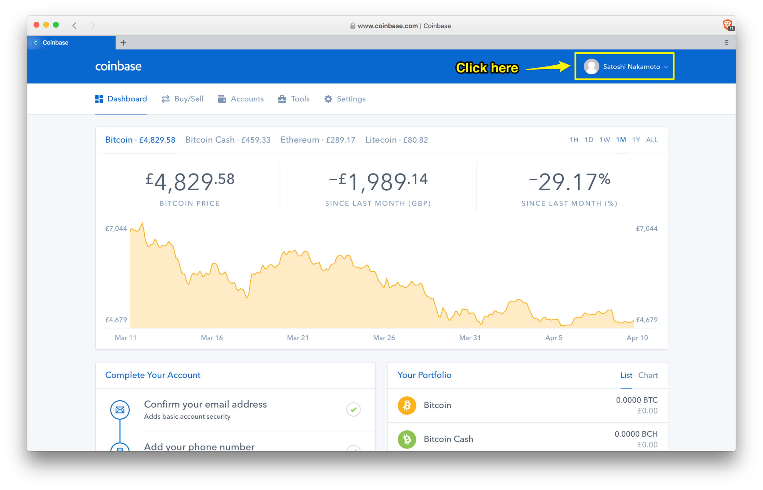 Coinbase: dashboard