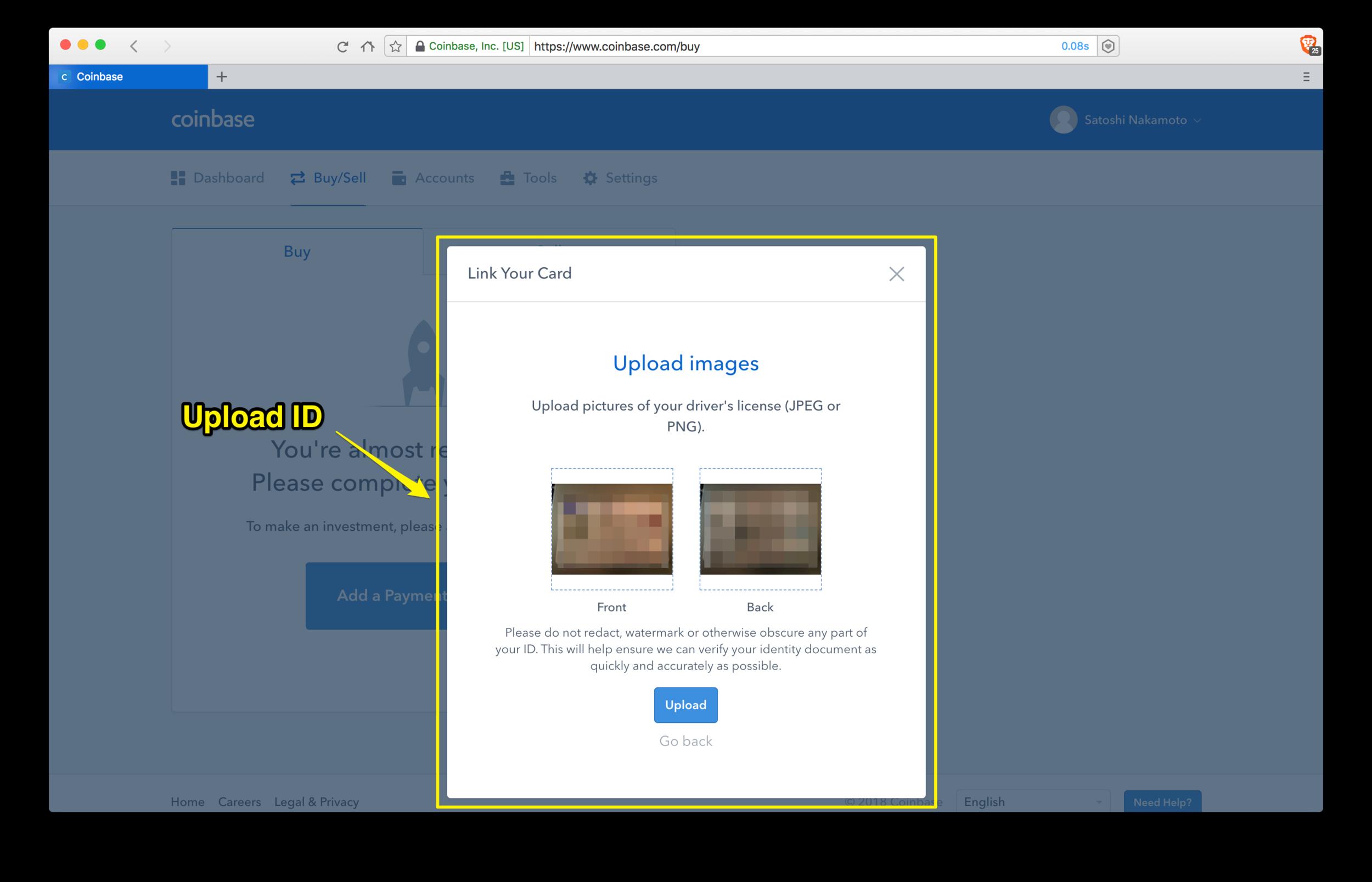 Coinbase: upload ID