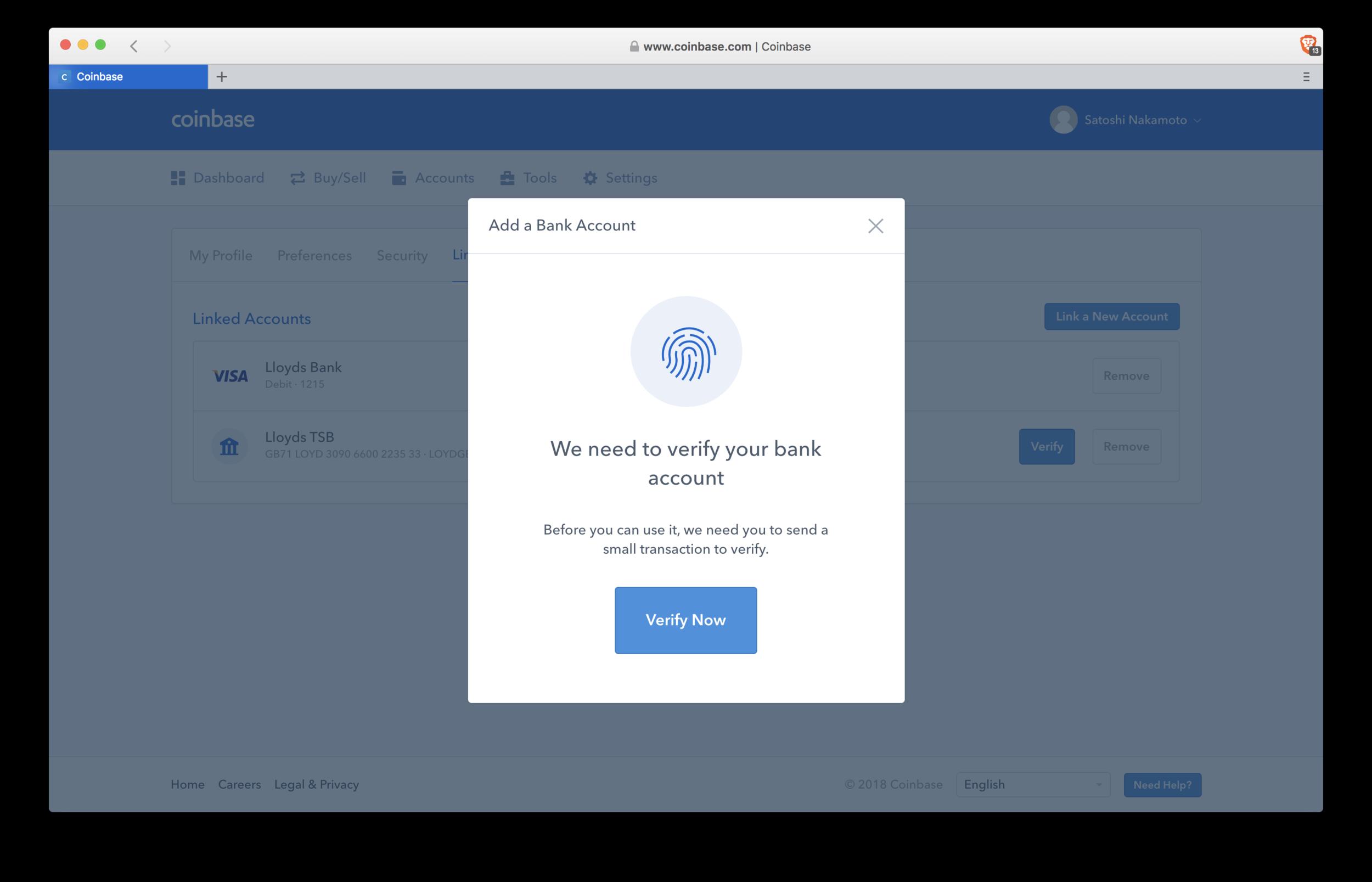 Coinbase: verify bank account