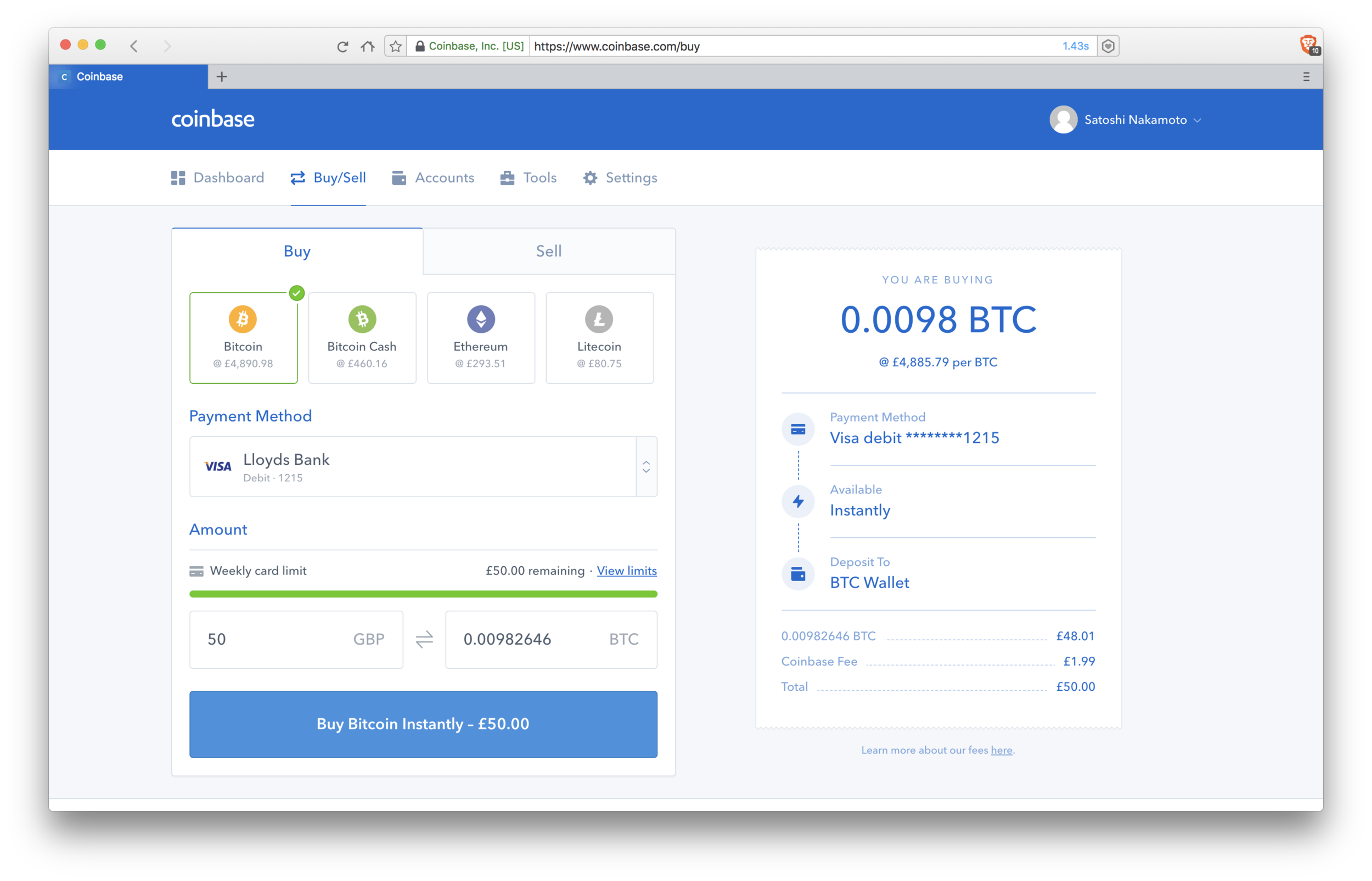 Coinbase: choosing amount to buy
