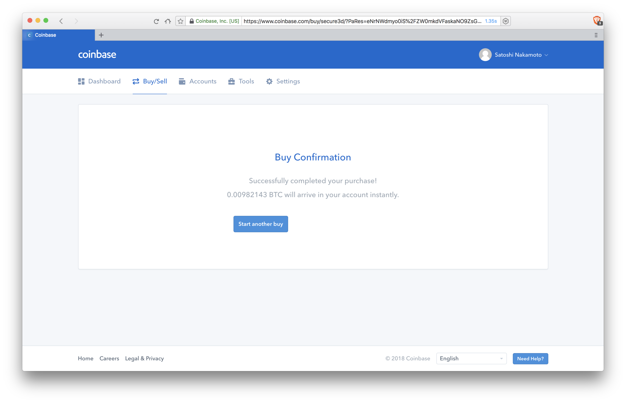 Coinbase: confirmation of buy