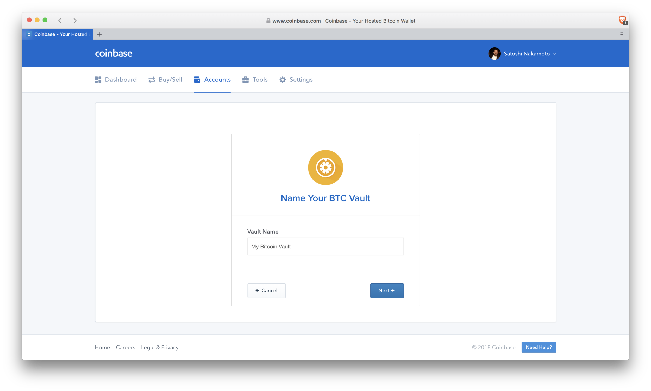 Coinbase: naming your vault
