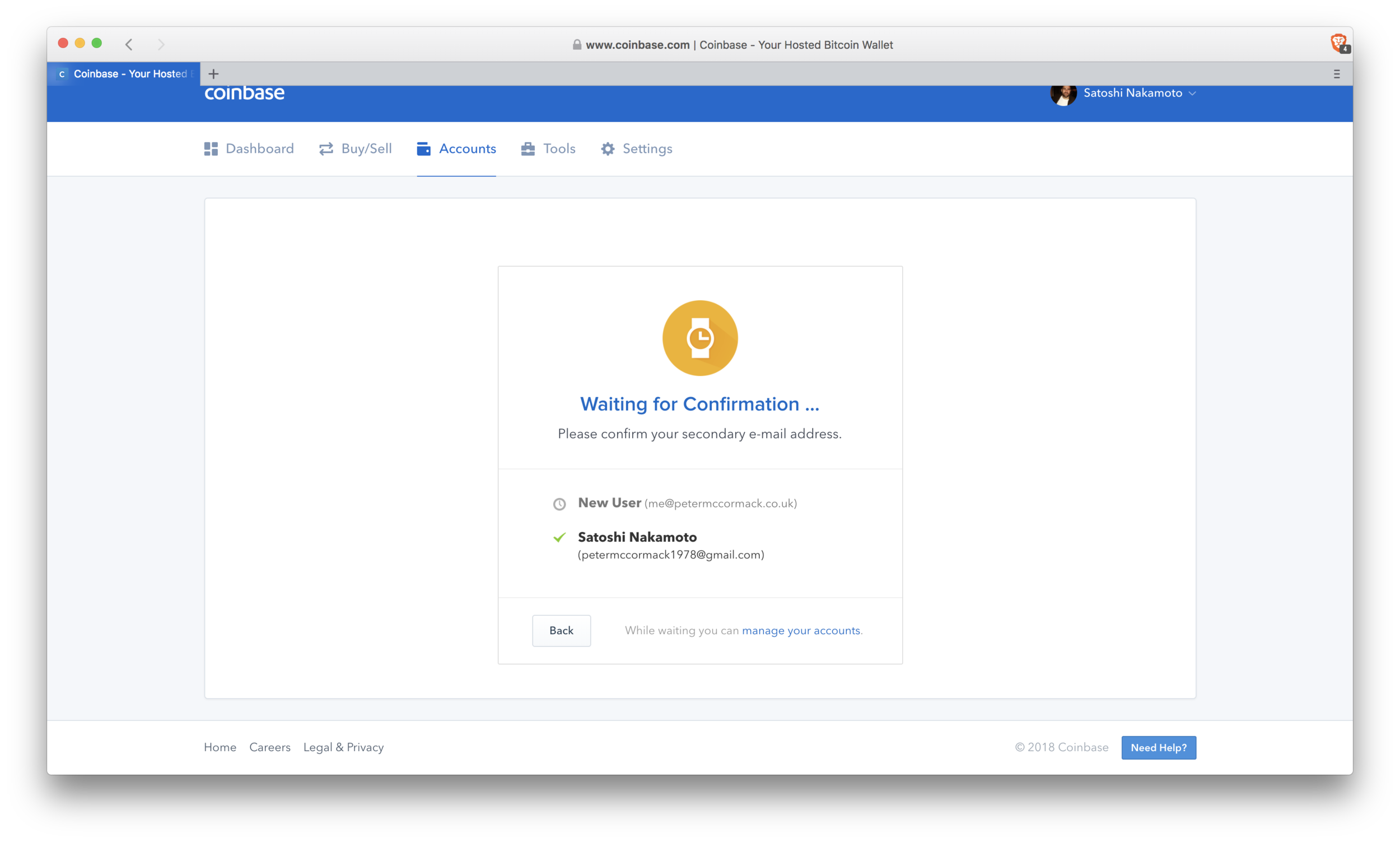 Coinbase: confirm secondary email