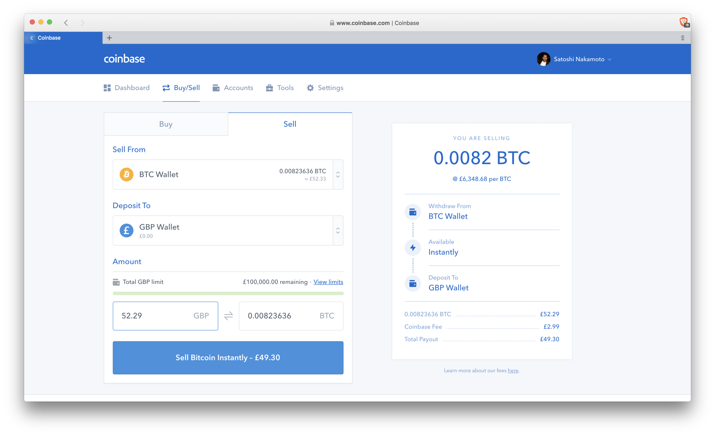 Coinbase: sell Bitcoin