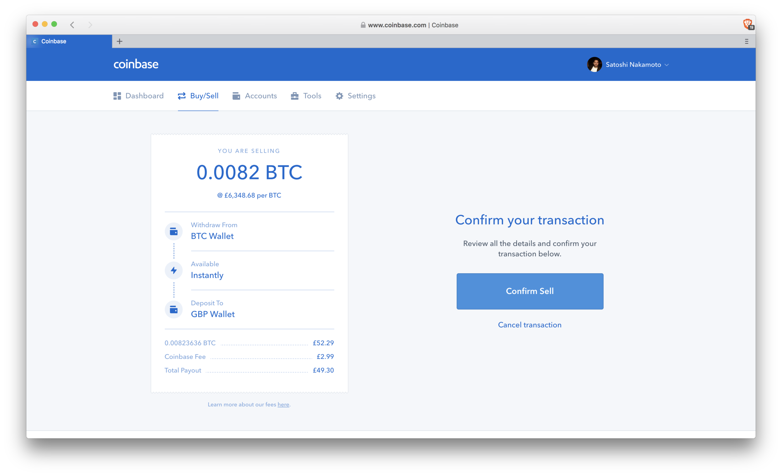 Coinbase: confirm sell