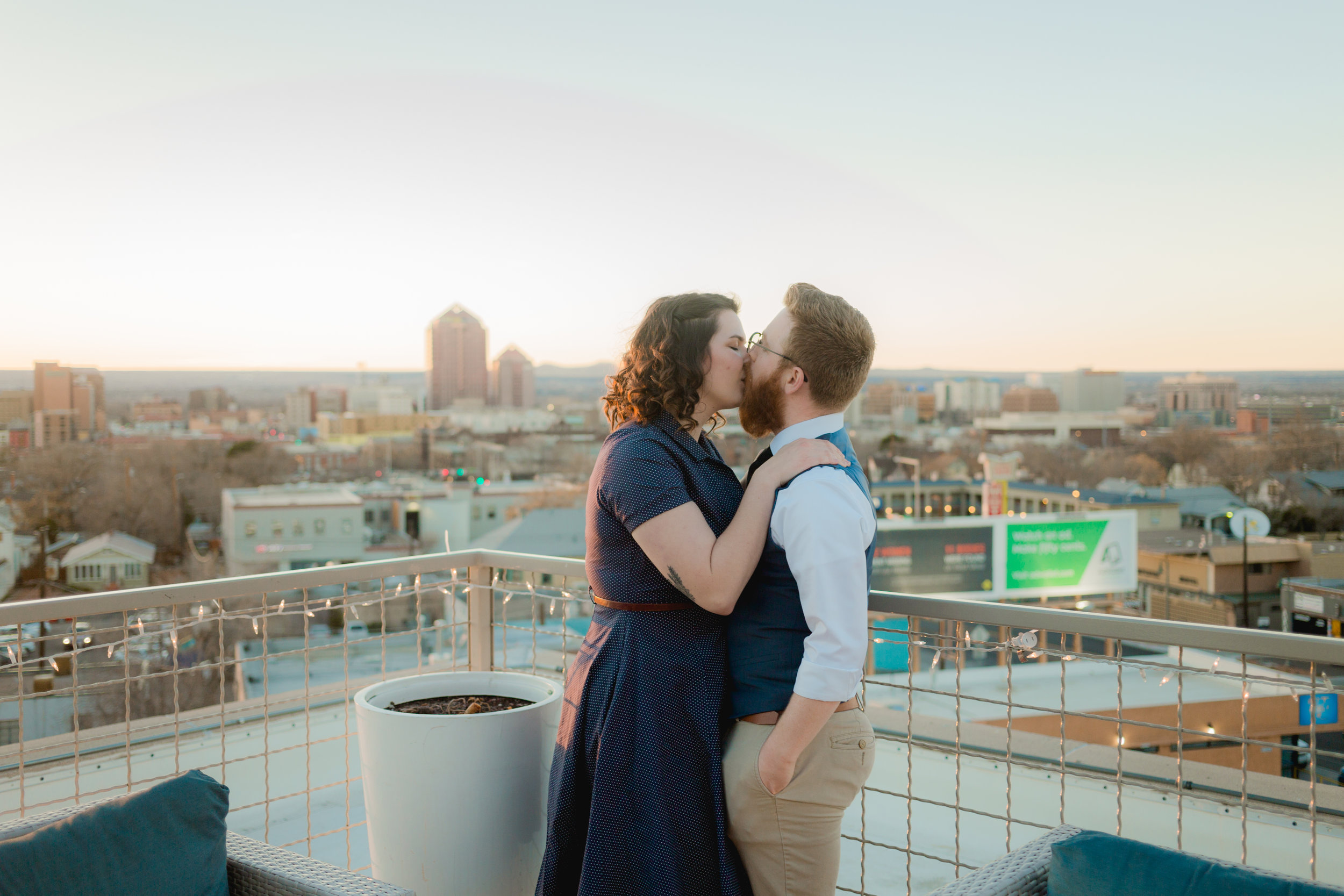 Dowtown Albuquerque elopement photos at Hotel Park Central
