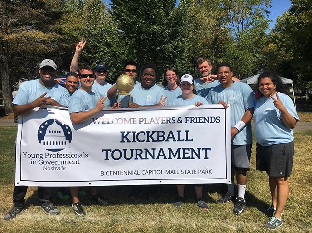And the winner is . . . Team F&A! Team members came from the Tennessee Department of Finance & Administration and are this year's Kickball Tournament #champs!  #YPGNash #Kickball #Tournament #Fundraiser