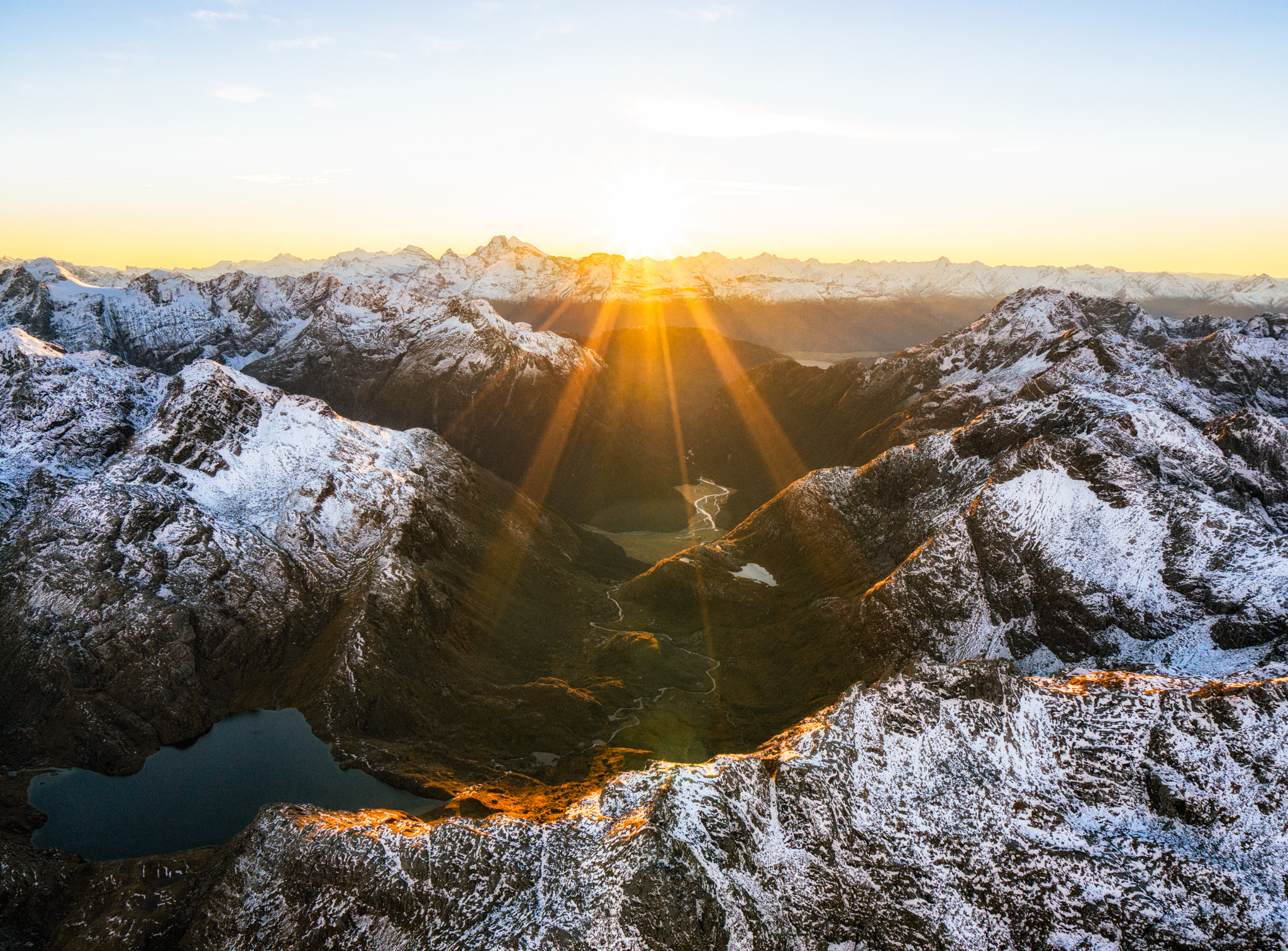 The Routeburn Track is one of the most scenic hikes in all of New Zealand, seen from the sky at sunrise it's easy to see why. (Talman Madsen)