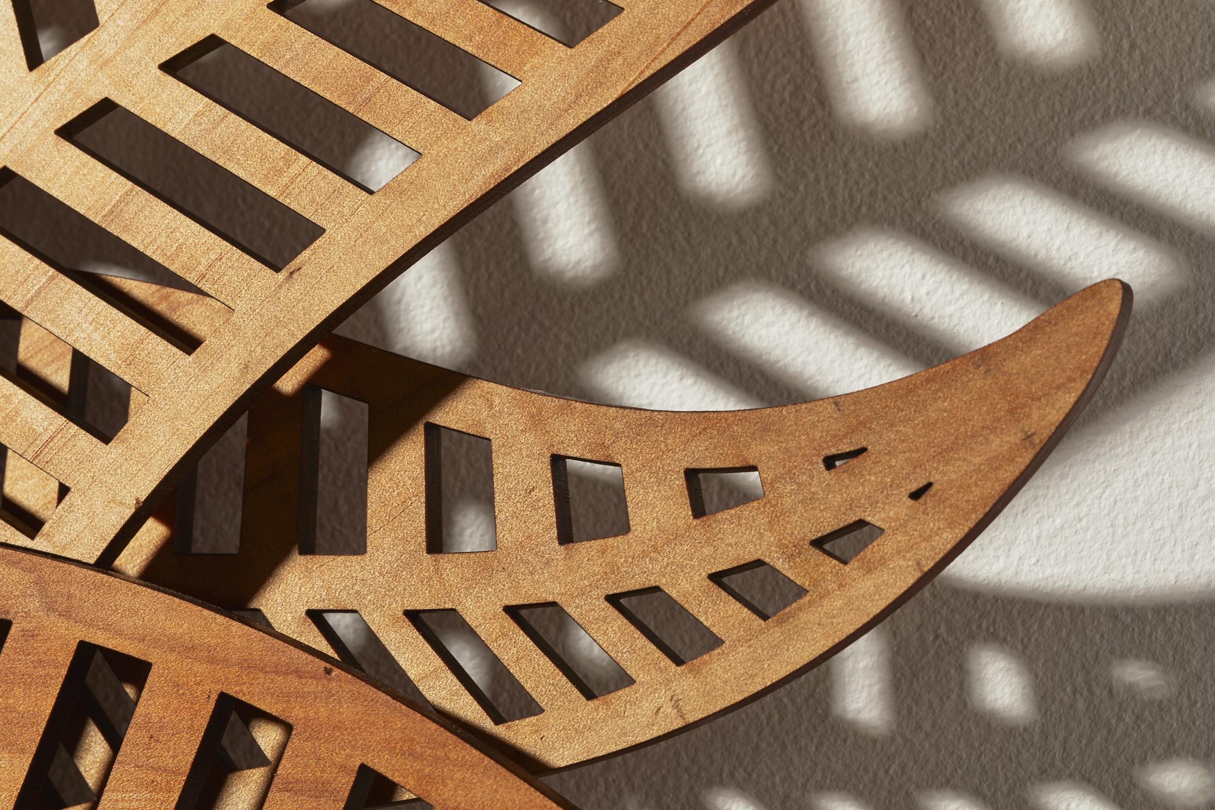 Wood Fern Mirror detail of the reclaimed Kauri wood.