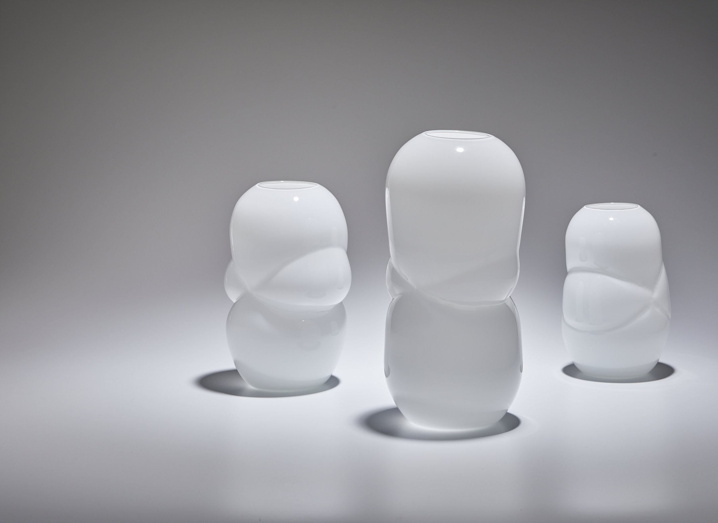 The White Cloud Vases. Handblown glass.