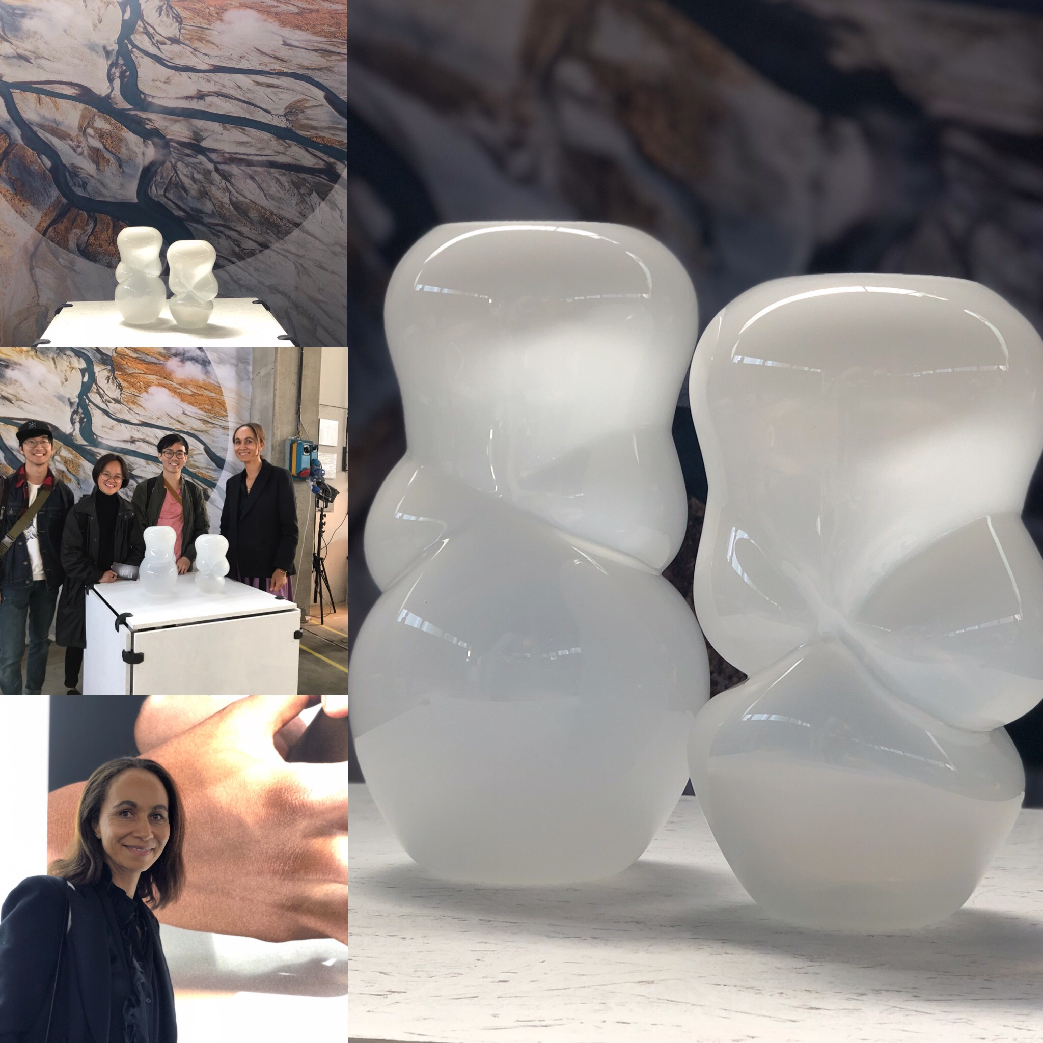 LyZadie Design Studio's plan B exhibition stand after finding out the freight was delayed by 2 weeks. Lyzadie with some keen buyers. The White Cloud Vases.