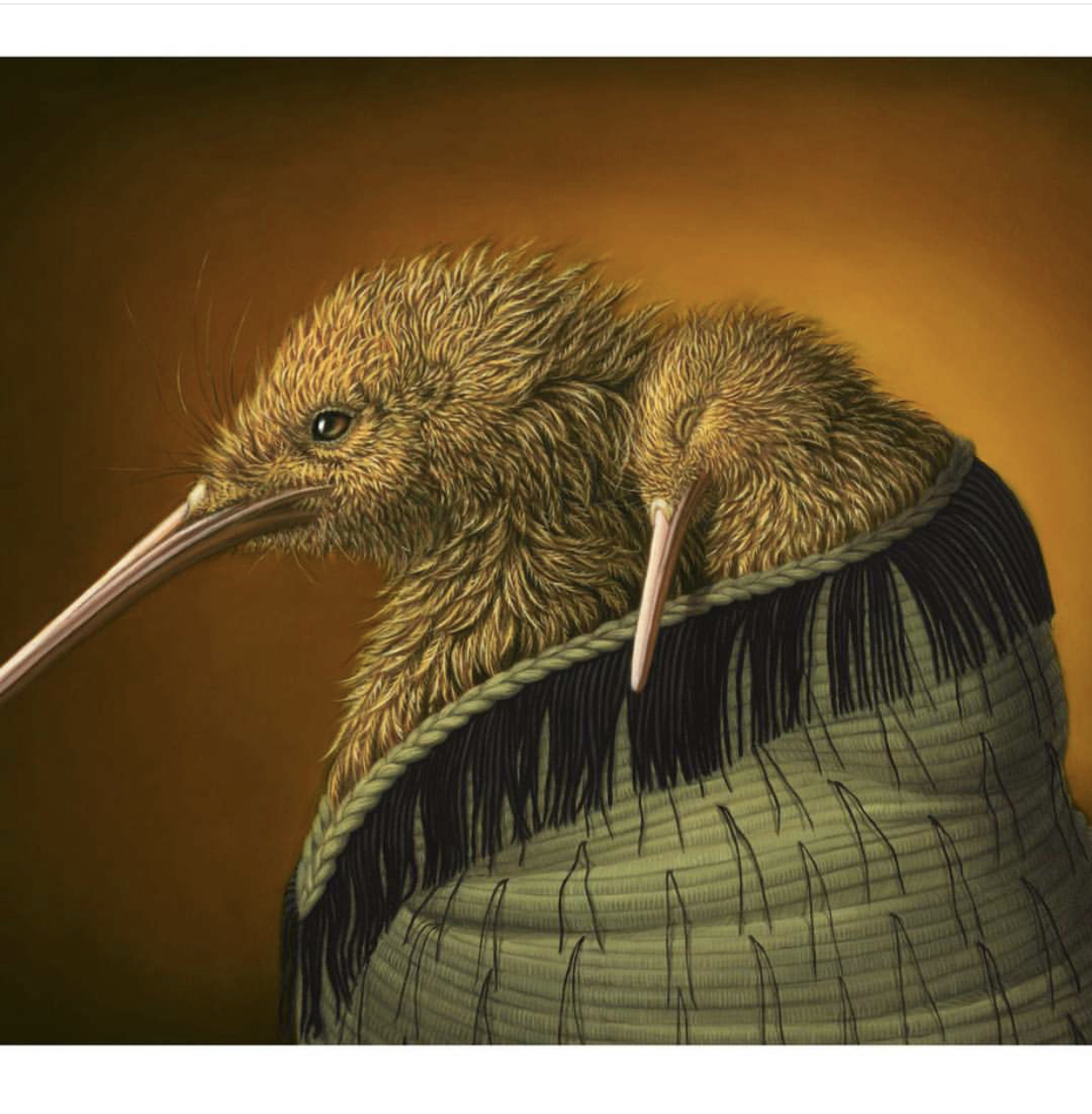 """Art by Rieko Woodford-Robinson - """"Kiwi Mother and Child""""."""