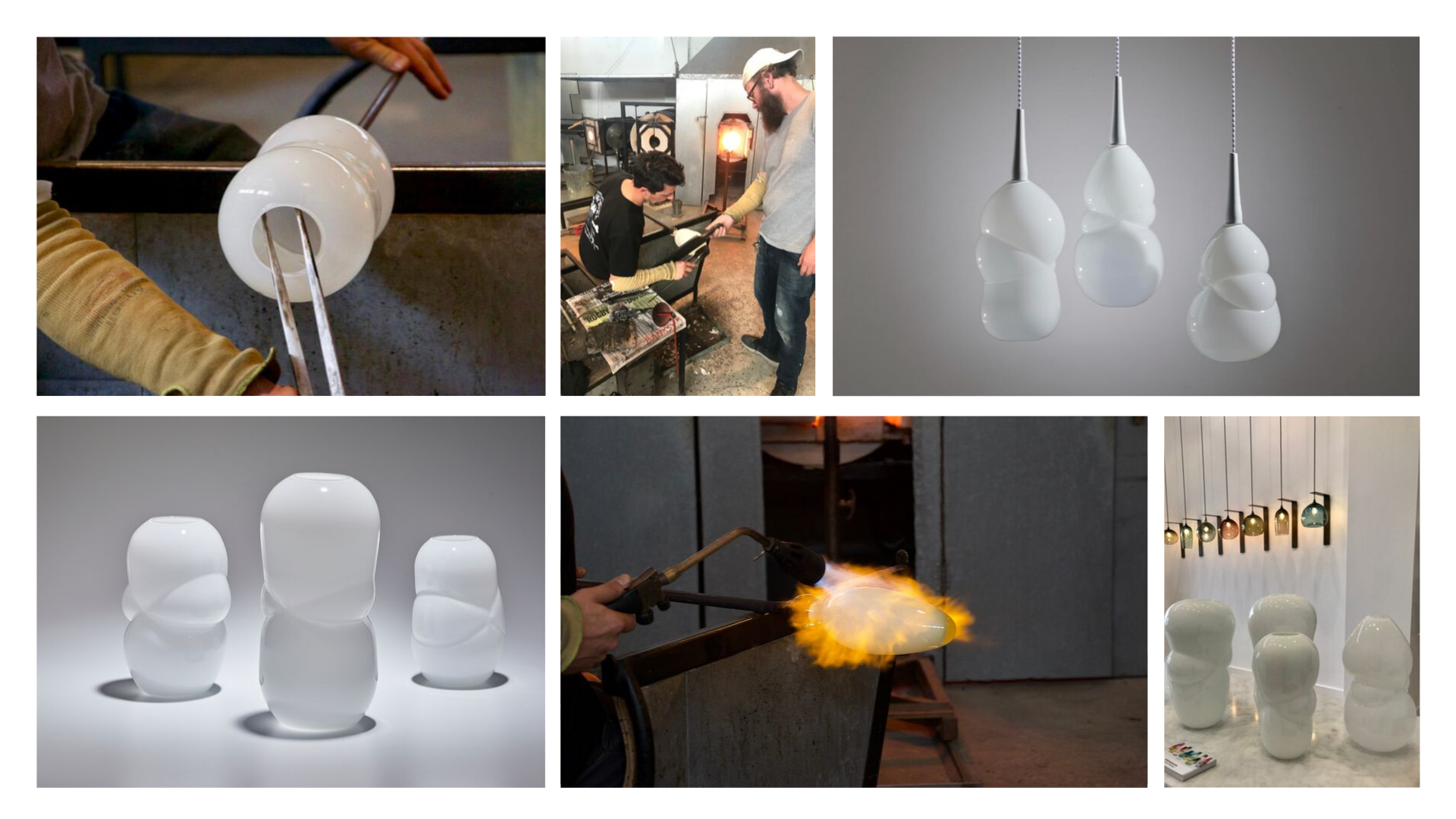 Isaac and Stephen in the glass studio: The White Cloud Collection.