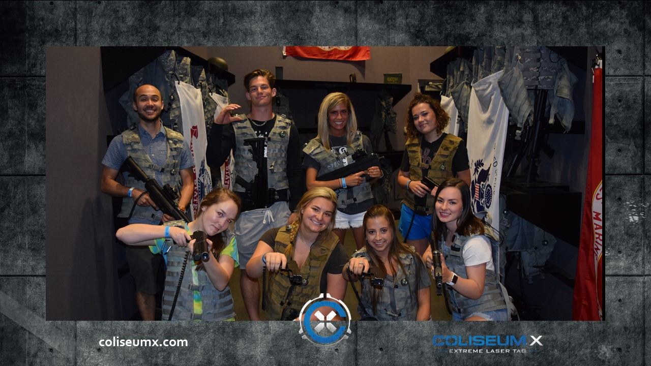 Standard Laser Tag - 1 hour Extreme Laser Tag (4 Missions)Group PhotoOnline WaiversDigital Email Invitation1 Free Jumbo Locker Rental for personalReserved Seating during activities and for 30 minutes afterwardsScheduled during regular hours of open play (no private arenas)$25/person, 8 person minimum