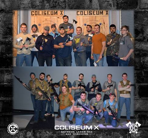 Combo Axe & Laser Tag - 1 hour of Extreme Laser TagScheduled during regular hours of open play (no private laser tag arenas)30 Minutes of VIP Seating For Refreshments1 hour of Axe ThrowingDedicated/Private Axe Throwing LanesTwo Group PhotosOnline WaiversDigital Email Invitation1 Free Jumbo Locker Rental for personal$45/person, 8 person minimumWaivers And Closed Toe Shoes RequiredMinimum Age Of 13 Years Old Ages 13-17 (Parent/Guardian Attendance Required)
