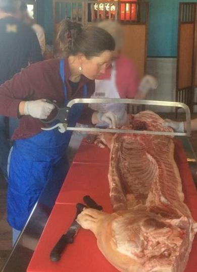 Jen at a pig butchering class