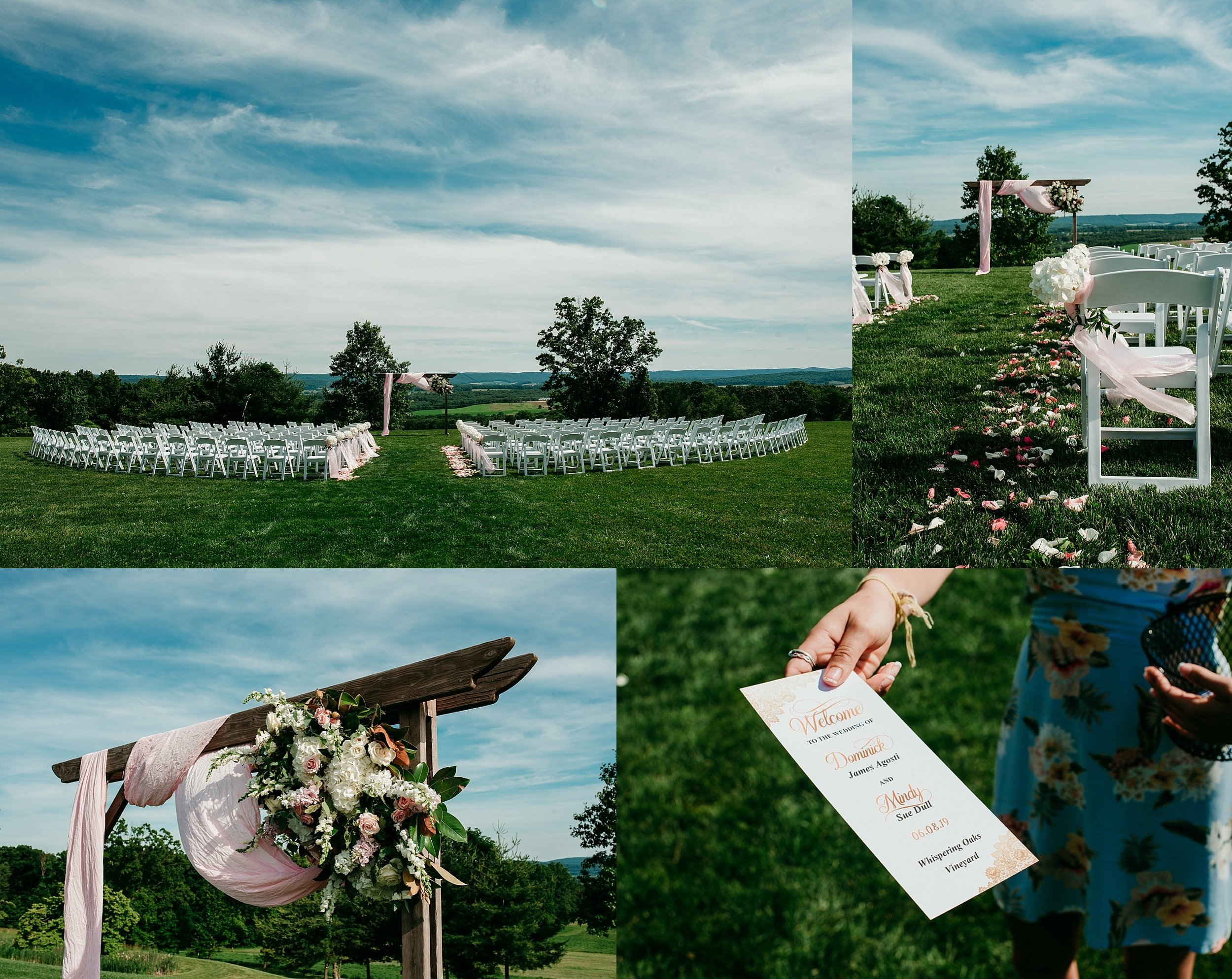 This view always takes my breath away! Blue sky, wisping clouds and gorgeous floral touches by  The Details Matter  brought this romantic, secret garden wedding to life.