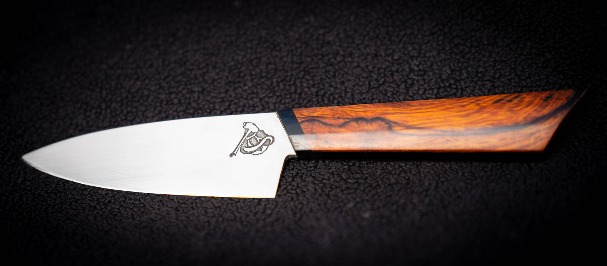 """- 3.5"""" stainless paring, iron wood and micarta three-part handle. Build Price $180"""