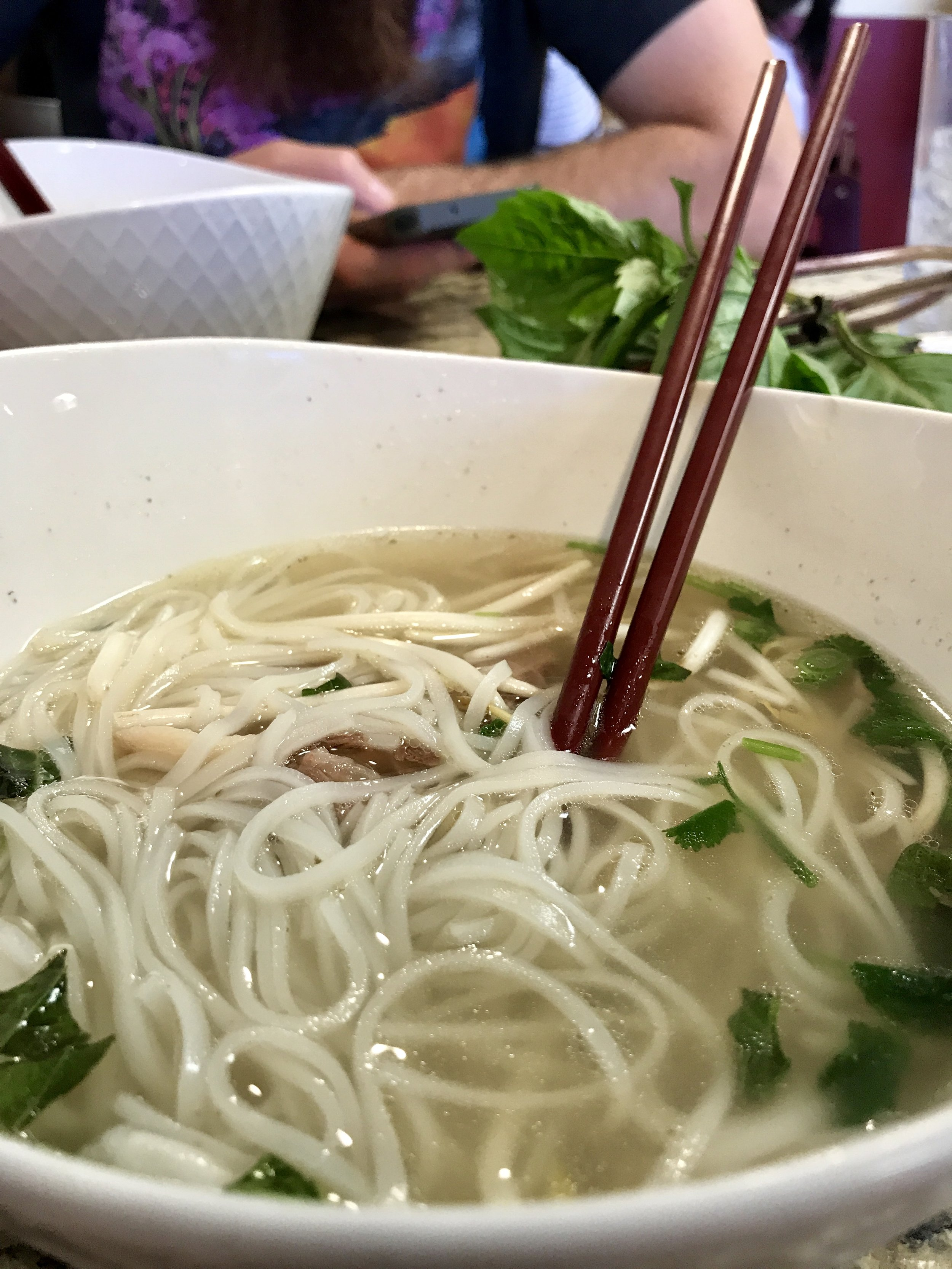 PHO - Whenever Matt and I go to the valley (aka Phoenix) we like to eat cuisine that is not available to us regularly. So, Sunday brunch took place at Da Vang Restaurant off 19th Ave. This was my first time eating Vietnamese, and specifically, pho.If you're like me and not familiar with Vietnamese food, pho consists of broth, rice noodles, and meat (typically beef).AMAZING sums up the experience.The broth was so savory, and there was a plate of fresh basil leaves, bean sprouts, and limes to add to our meal. We also ordered a BBQ pork sandwich - Matt and I concluded that was the best $4 spent in our lives.Pictured is my pho about 10 minutes in. It comes with a LOT of food -next time we are only ordering one bowl for us to share. So looking forward to the next time we get to go eat pho and BBQ sandwiches. Thank you, Phoenix & Da Vang Restaurant.