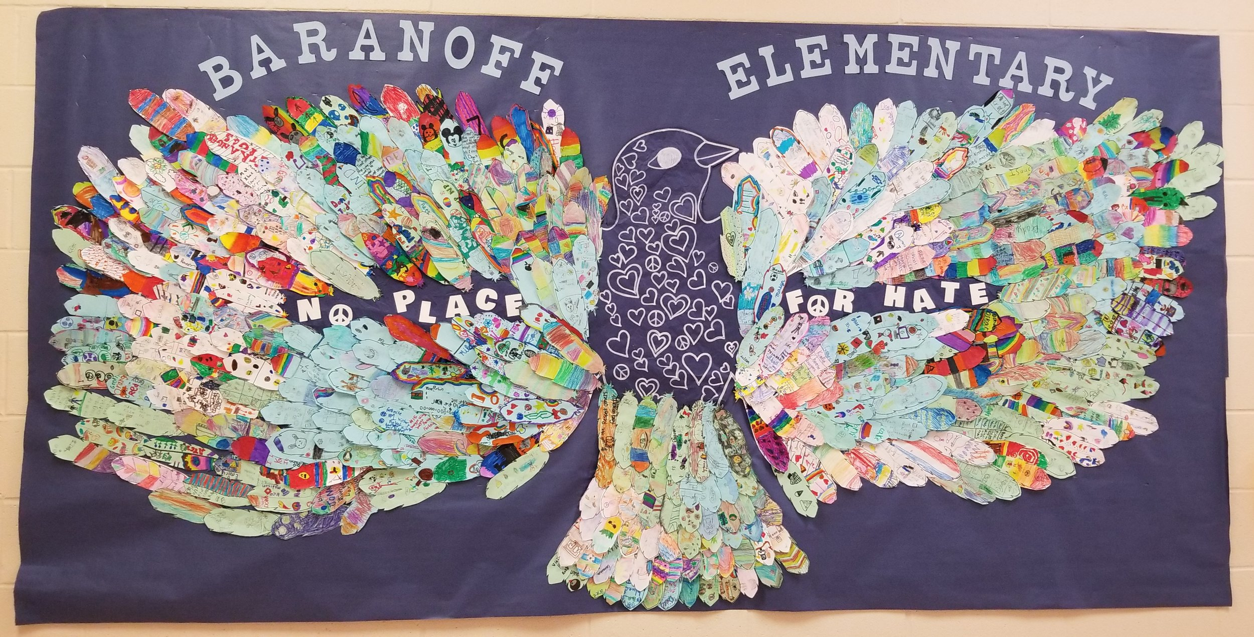 Peace Dove - No Place for Hate Mural - created by K- 5th grade students during the 2018-2019 school year.