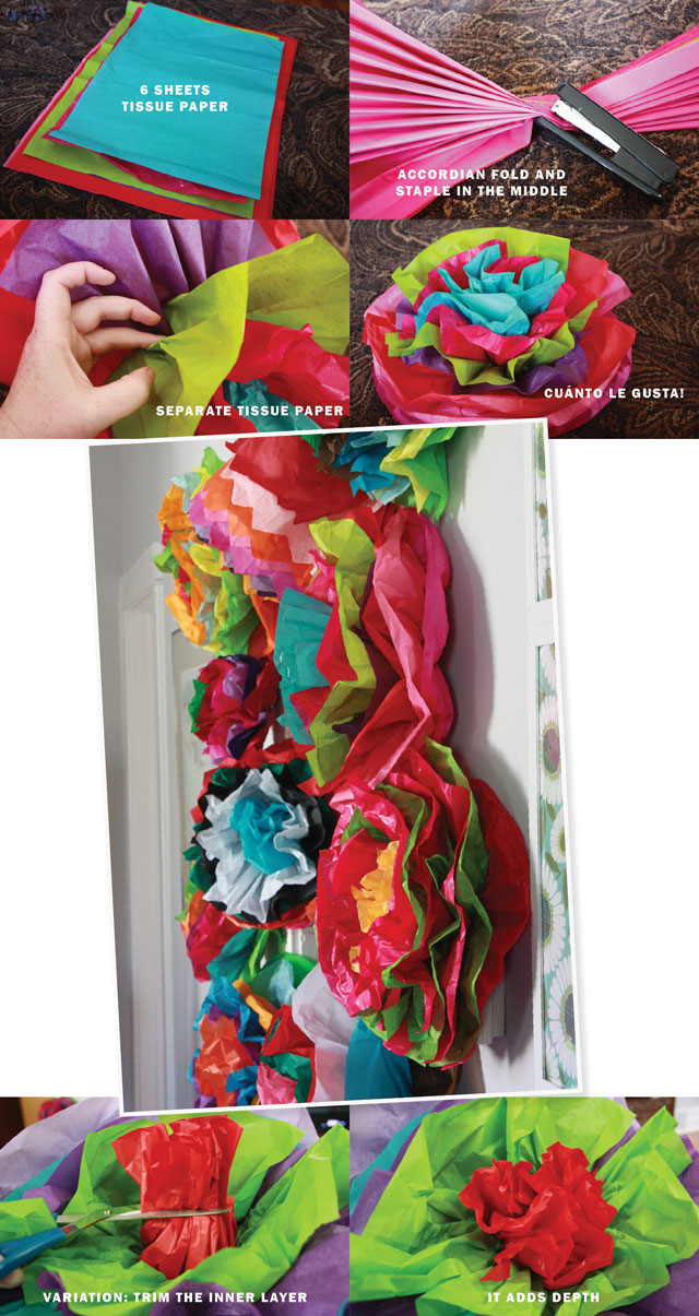 Our last tip is all about adding color! We love how vibrant these tissue paper flowers are and they add a lot of decorative dimension without much effort. And again, we think this could double as a family crafting activity. If you have a certain color scheme for your Fiesta then you can be more selective with which color tissue paper you use, or you can follow the lead of blogger Amanda (aka Aunt Peaches) and use the whole rainbow!