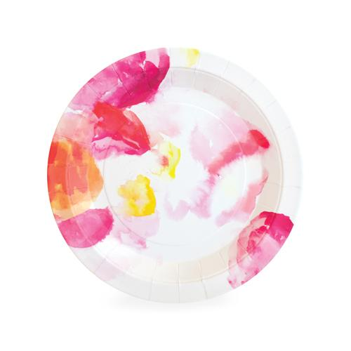 Floral Escape Small Plates - Continuing with the floral escape pattern, we present it on our small dessert/appetizer plates. This paper plate offers a whimsical watercolor-esque floral vibe, and is perfetly sized to serve up your menu from apps to sweets.