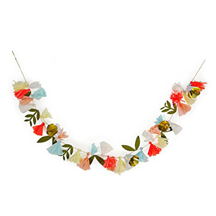 Flower Bouquet Garland - This garland brings everything to the party: metallics, color, greenery and style. Hang this above the dessert table, use it as a photo booth backdrop or lay it on your picnic table as a creative table runner.